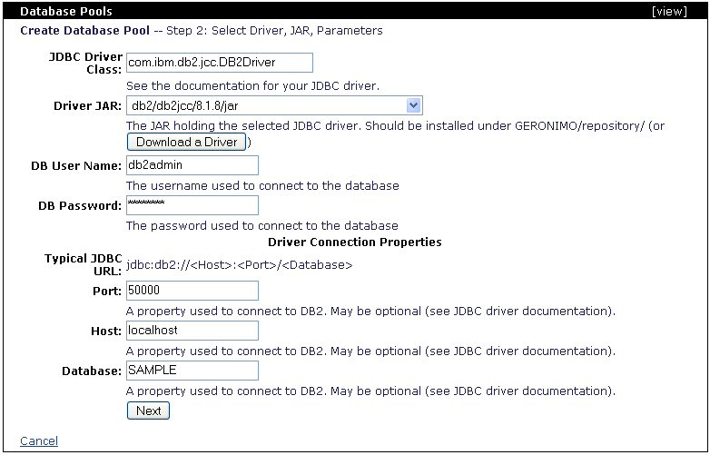 Apache Geronimo v1 0 Documentation : Configuring DB2 Datasource