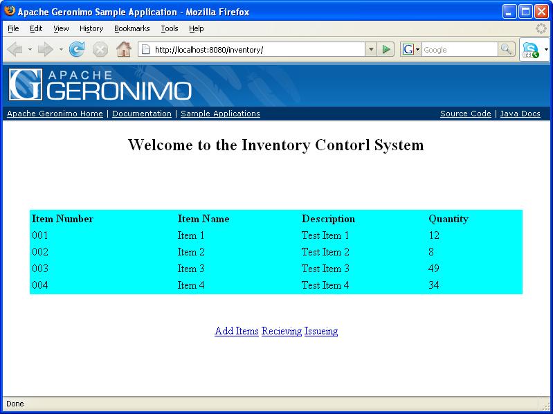 Apache Geronimo v2.2 Documentation: inventory - Simple Database ...