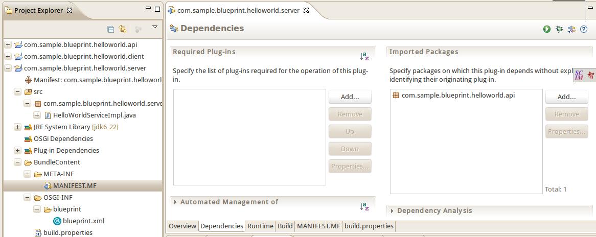Apache geronimo v30 documentation developing a hello world mf and make sure commpleprinthelloworldapi is listed under import pakcage malvernweather Images